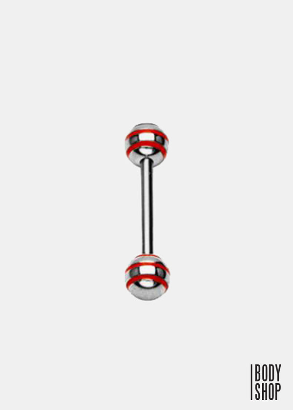 316L Surgical Steel Epoxy Stripe Barbell - Red