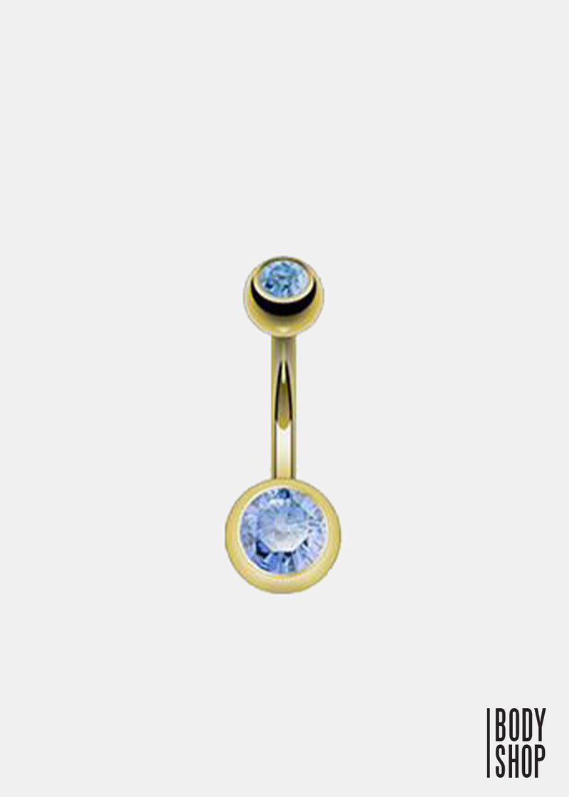Gold Plated 2 Press Fit Gem Navel Ring - Light Blue