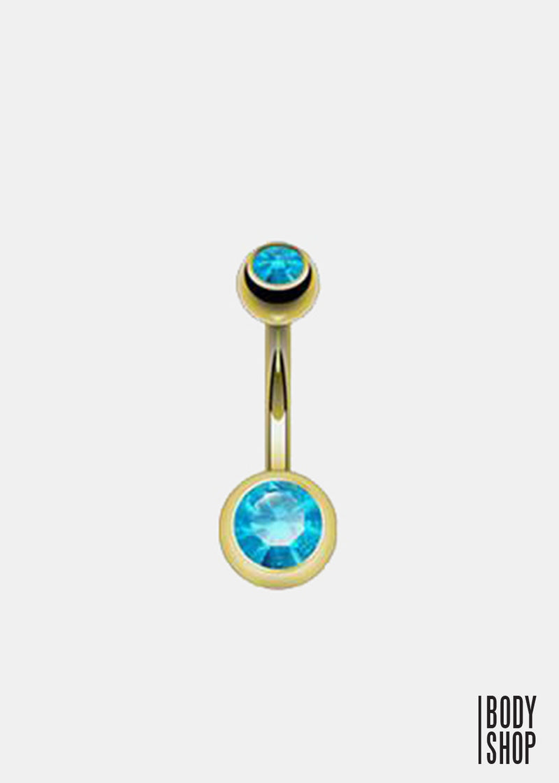 Gold Plated 2 Press Fit Gem Navel Ring - Aqua