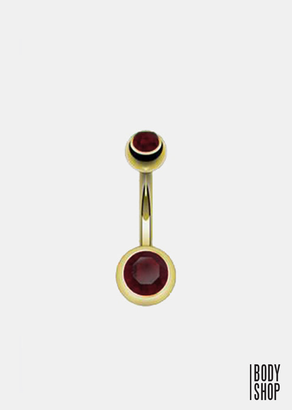 Gold Plated 2 Press Fit Gem Navel Ring - Purple