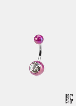 Single Gemstone Metallic Coated Acrylic Navel Ring - Purple