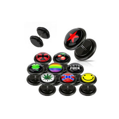 Faux Acrylic Plugs with Logo Plug - Smile Face