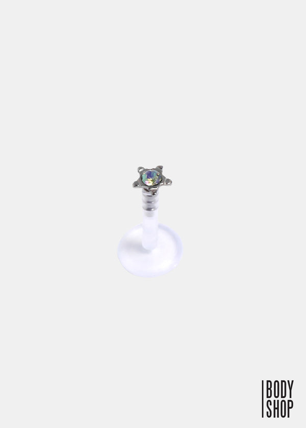 Star Stud Round Press-Fit CZ Gem Flexible Shaft Labret Monroe-Rainbow