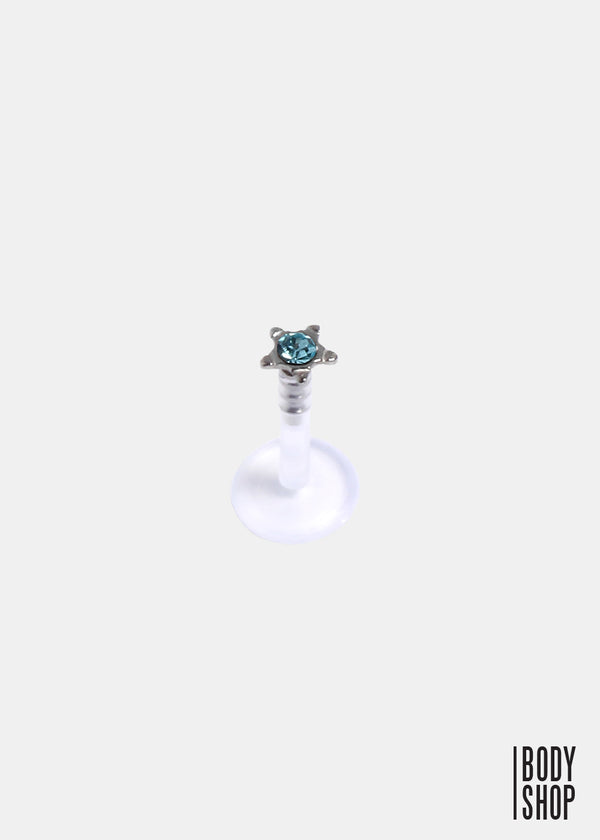 Star Stud Round Press-Fit CZ Gem Flexible Shaft Labret Monroe- Aqua