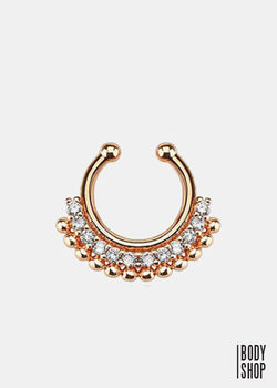 Paved Gem Fan Rose Gold IP Non-Piercing Fake Septum Ring