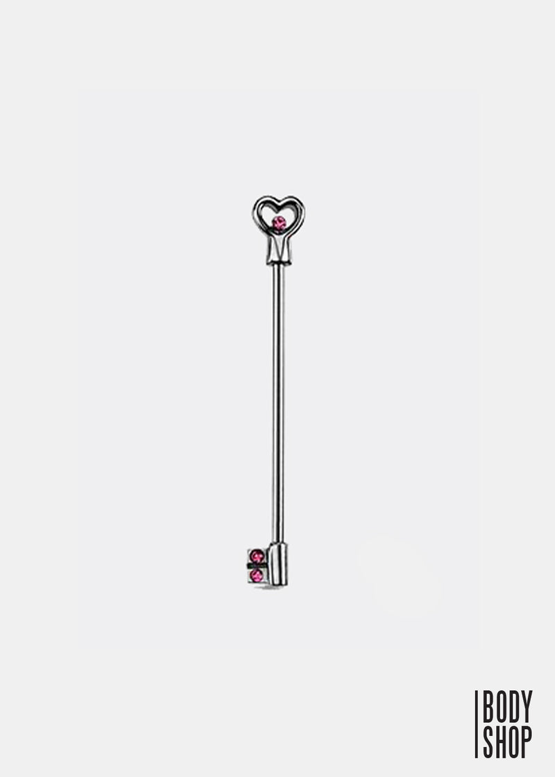 316L Surgical Steel Heart Key Barbell - Pink