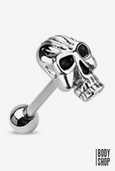Casted Fiery Skull Top Barbell - Silver