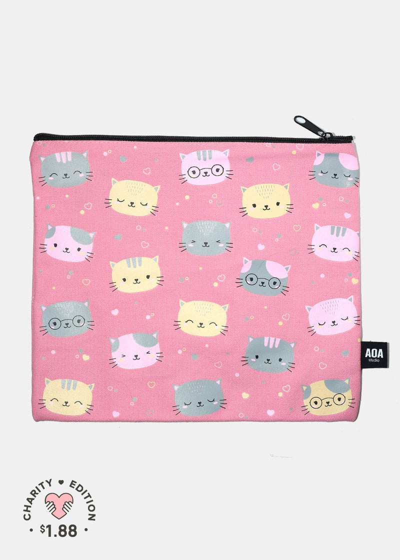 A+ Large Canvas Pouch - Cats