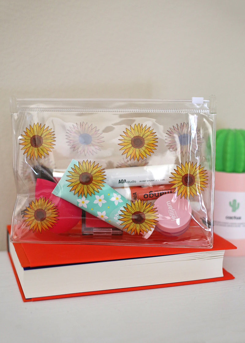 AOA Clear Makeup Pouch - Sunflower