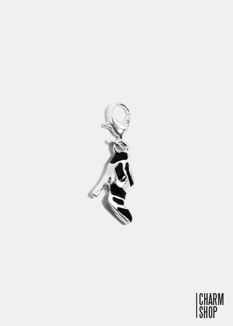 Black and Silver High Heel Dangle Charm