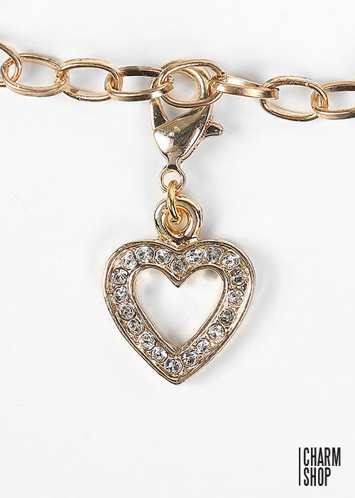 Rhinestone Heart Dangle Charm
