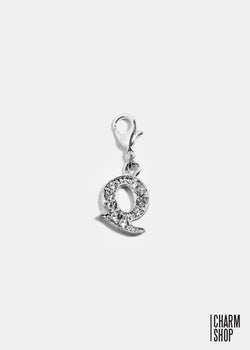 Silver Clear Initial Q Dangle Charm