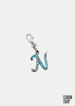 Silver Blue Initial N Dangle Charm