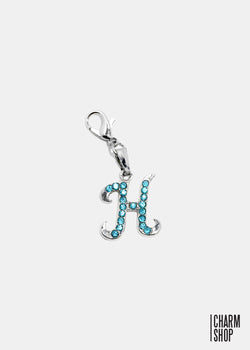 Silver Blue Initial H Dangle Charm