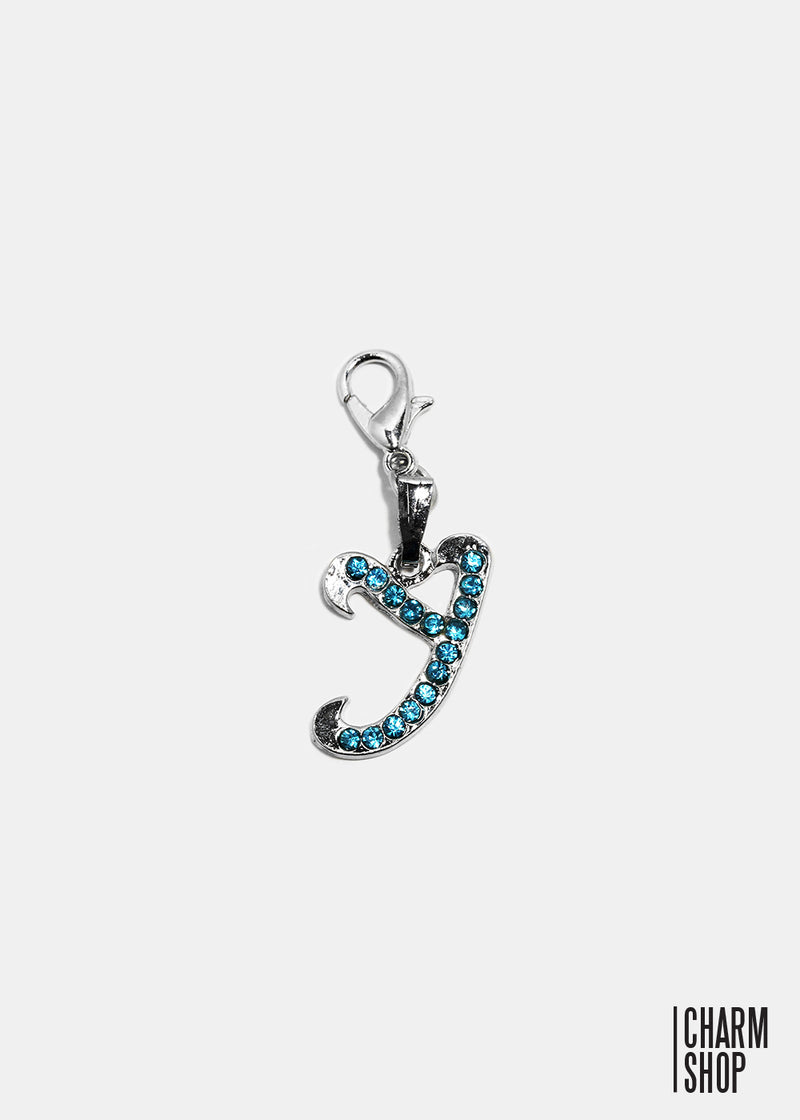 Silver Blue Initial Y Dangle Charm