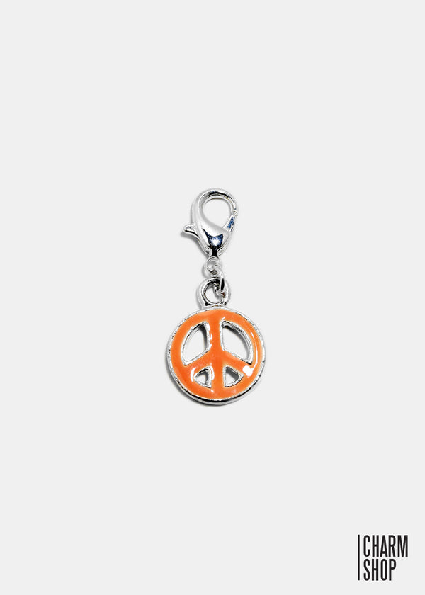 Pink Enamel Peace Sign Dangle Charm