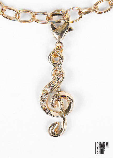 Gold Treble Clef Dangle Charm