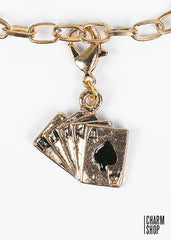 Gold Cards Dangle Charm