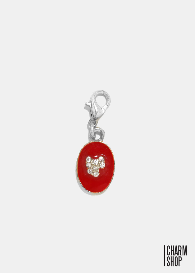Red Circle Pendant Heart Dangle Charm