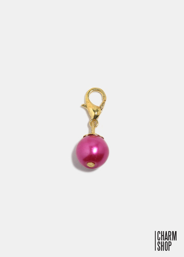 Gold Tone Dark Pink Pearl Dangle Charm