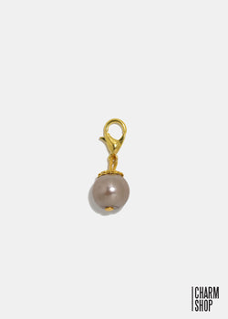 Gold Tone Light Brown Pearl Dangle Charm
