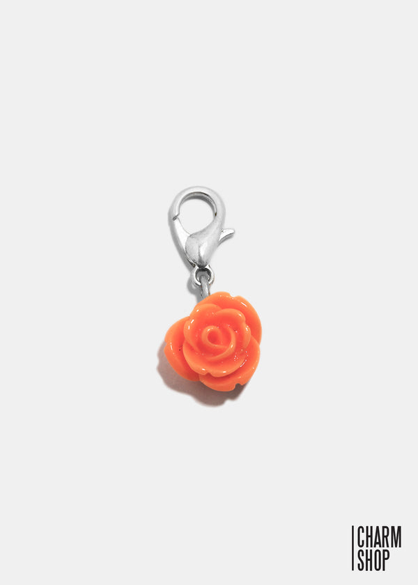 Orange Shimmer Rose Dangle Charm