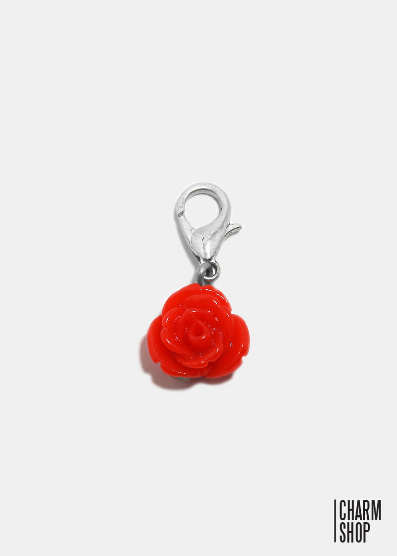 Red Shimmer Rose Dangle Charm