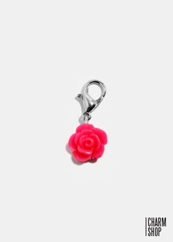 Hot Pink Rose Dangle Charm