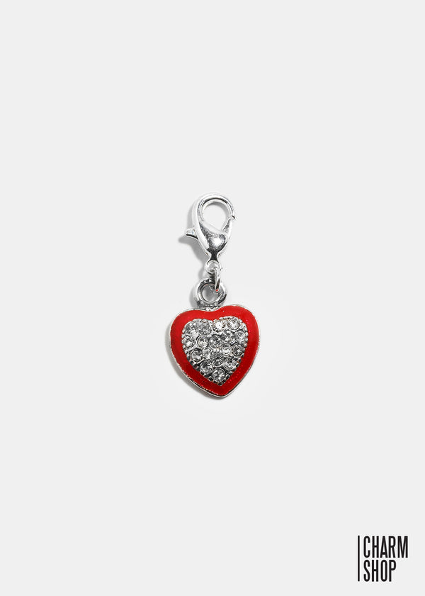 Red Heart with Rhinestone Dangle Charm