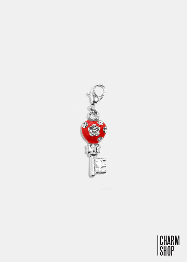Red Key to My Heart Dangle Charm