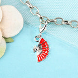 Red Fan Dangle Charm