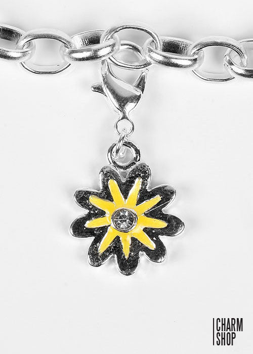 Rhinestone Yellow Flower Dangle Charm
