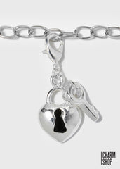 Silver Heart Locket/Key Dangle Charm