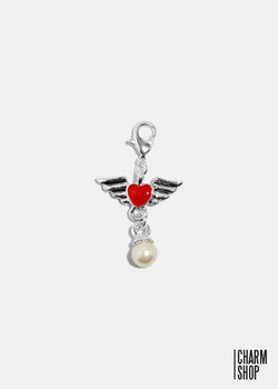 Angel Heart Pearl Dangle Charm