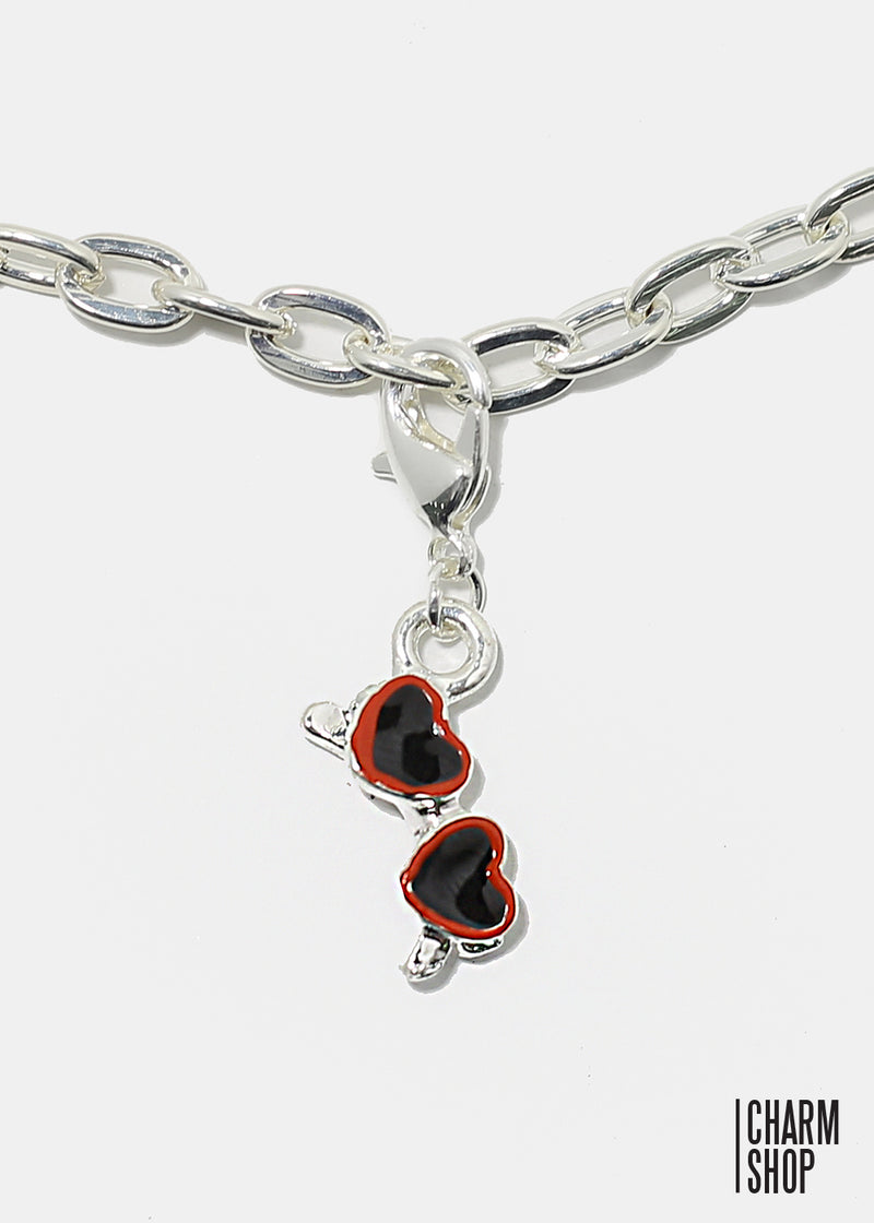 Red Trim Heart Sunglasses Dangle Charm