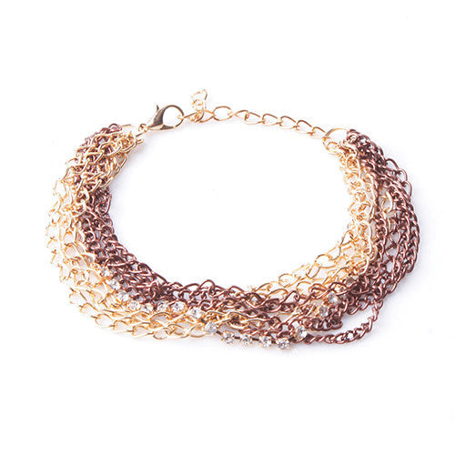 Bronze Layered Chain Dangle Foundation Bracelet