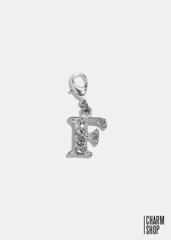 Silver Clear Initial F Dangle Charm