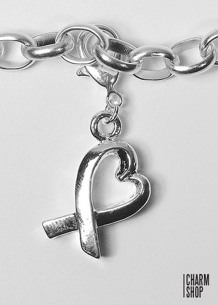 Ribbon Heart Dangle Charm