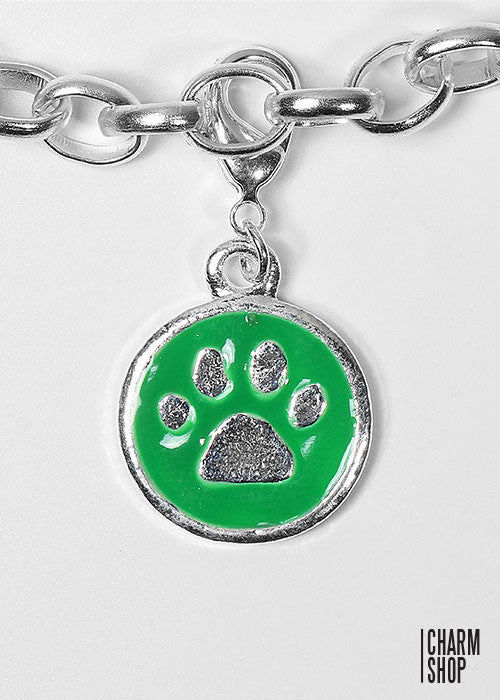 Green Paw Print Dangle Charm