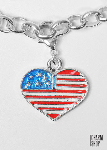 American Flag Heart Dangle Charm