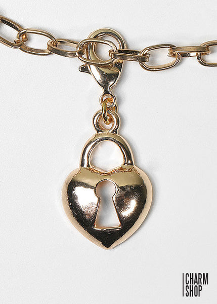 Gold Heart Lock Dangle Charm