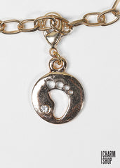 Gold Baby Footprint Dangle Charm