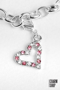 Silver and Pink Heart Dangle Charm