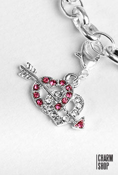 Cupid Arrow Double Heart Dangle Charm