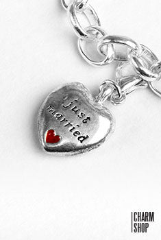 Just Married Heart Dangle Charm