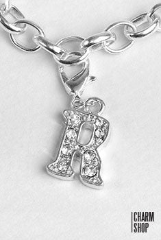 Silver Clear Initial R Dangle Charm