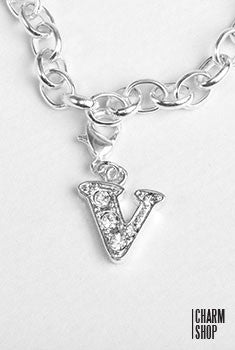 Silver Clear Initial V Dangle Charm