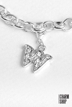 Silver Clear Initial W Dangle Charm