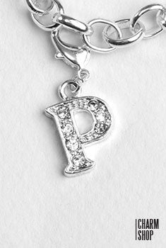 Silver Clear Initial P Dangle Charm