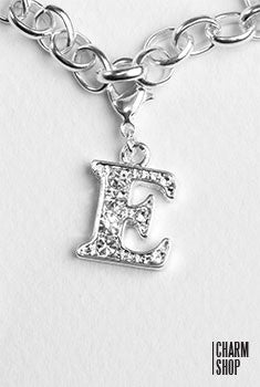 Silver Clear Initial E Dangle Charm